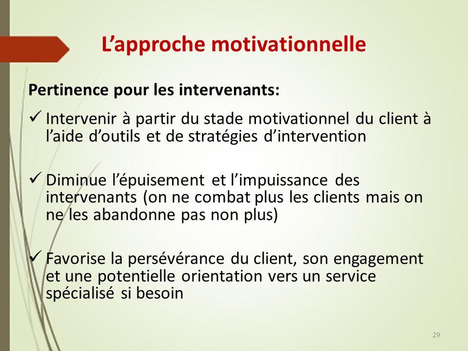 Lapproche motivationnelle Pertinence pour les intervenants: Intervenir à partir du stade motivationnel du client à laide doutils et de stratégies dint