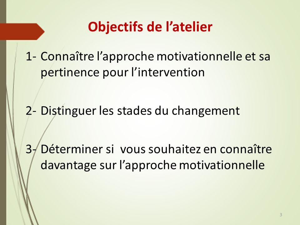 Objectifs de latelier 1- Connaître lapproche motivationnelle et sa pertinence pour lintervention 2-Distinguer les stades du changement 3-Déterminer si vous souhaitez en connaître davantage sur lapproche motivationnelle 3