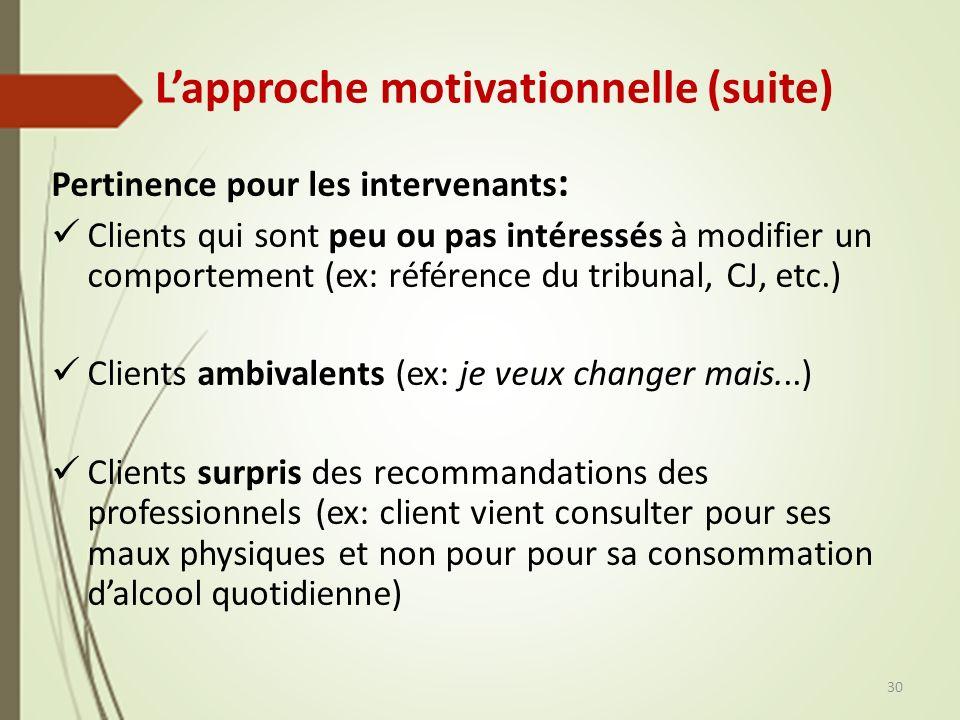 Lapproche motivationnelle (suite) Pertinence pour les intervenants : Clients qui sont peu ou pas intéressés à modifier un comportement (ex: référence