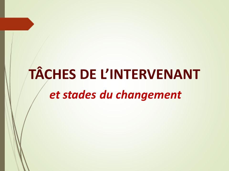 TÂCHES DE LINTERVENANT et stades du changement