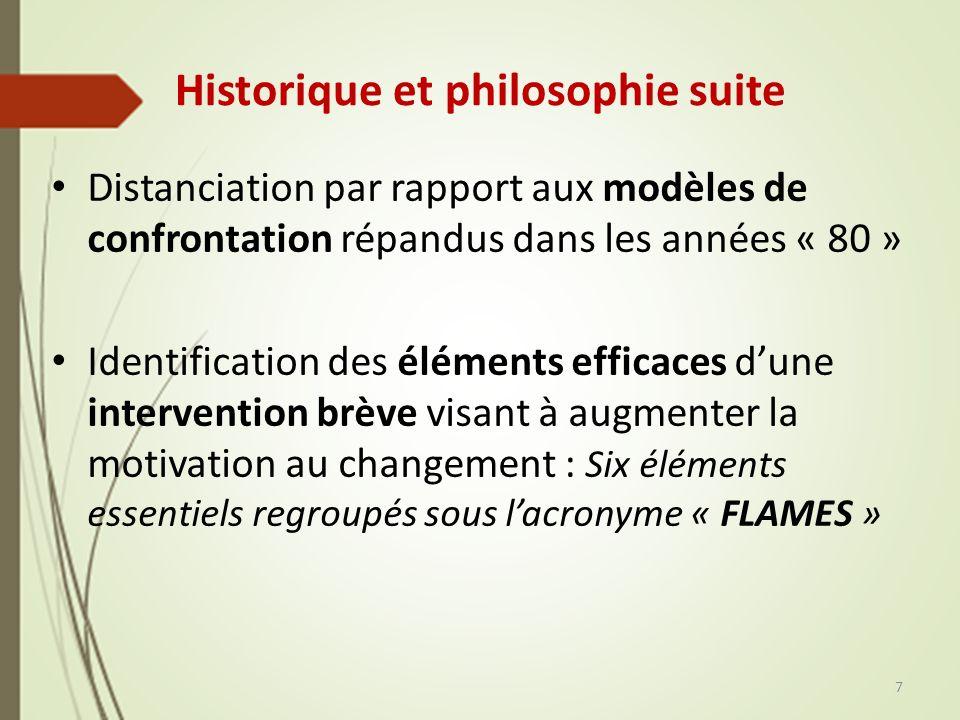 Historique et philosophie suite Distanciation par rapport aux modèles de confrontation répandus dans les années « 80 » Identification des éléments eff