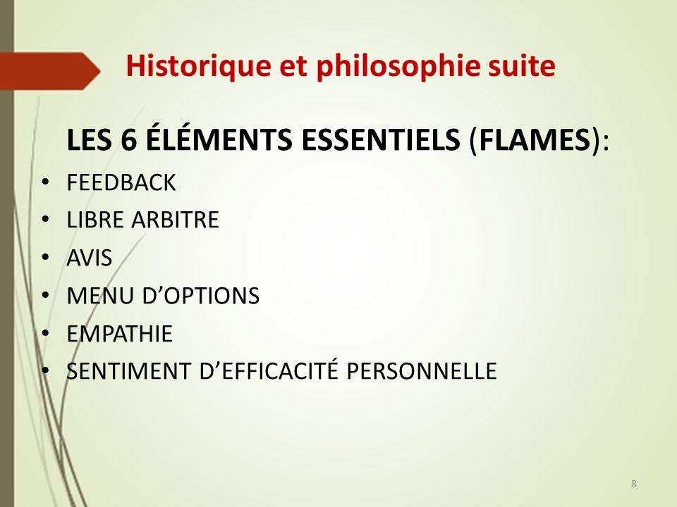 Historique et philosophie suite LES 6 ÉLÉMENTS ESSENTIELS (FLAMES): FEEDBACK LIBRE ARBITRE AVIS MENU DOPTIONS EMPATHIE SENTIMENT DEFFICACITÉ PERSONNELLE 8