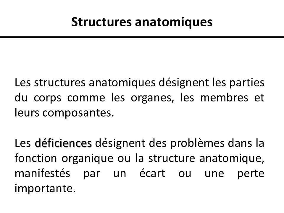 Structures anatomiques Les structures anatomiques désignent les parties du corps comme les organes, les membres et leurs composantes. déficiences Les