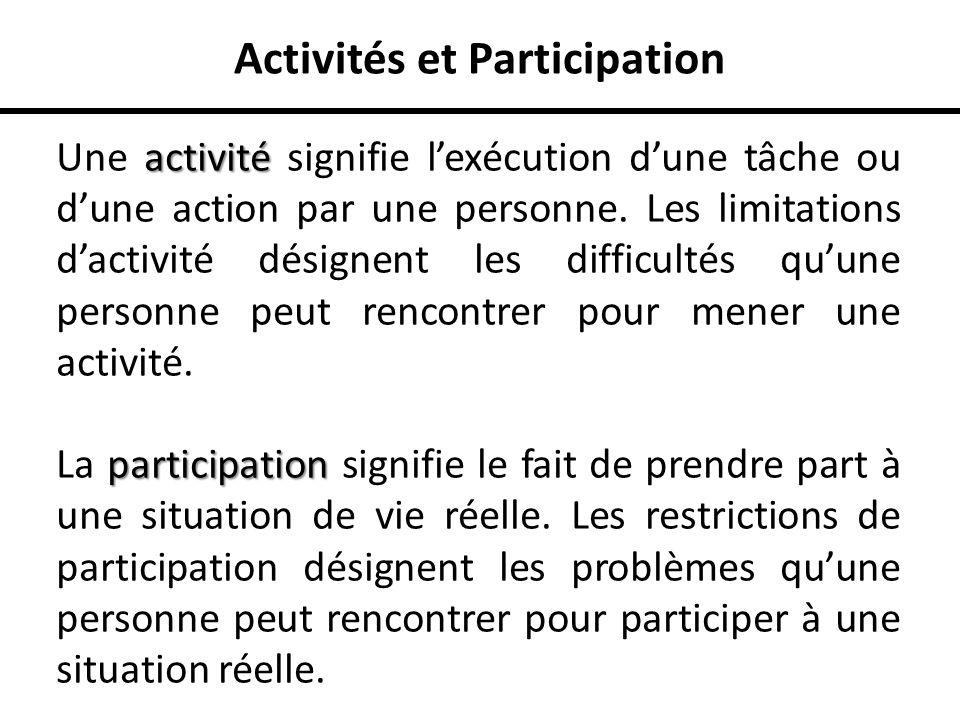 Activités et Participation activité Une activité signifie lexécution dune tâche ou dune action par une personne. Les limitations dactivité désignent l