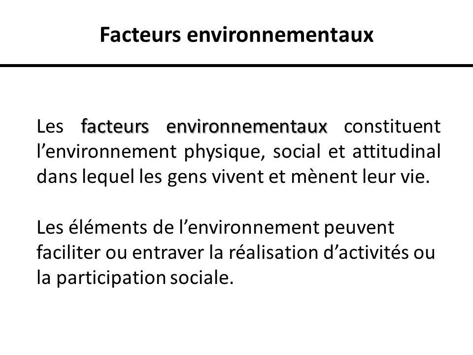 Facteurs environnementaux facteurs environnementaux Les facteurs environnementaux constituent lenvironnement physique, social et attitudinal dans lequ