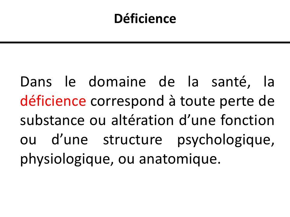 Déficience Dans le domaine de la santé, la déficience correspond à toute perte de substance ou altération dune fonction ou dune structure psychologiqu