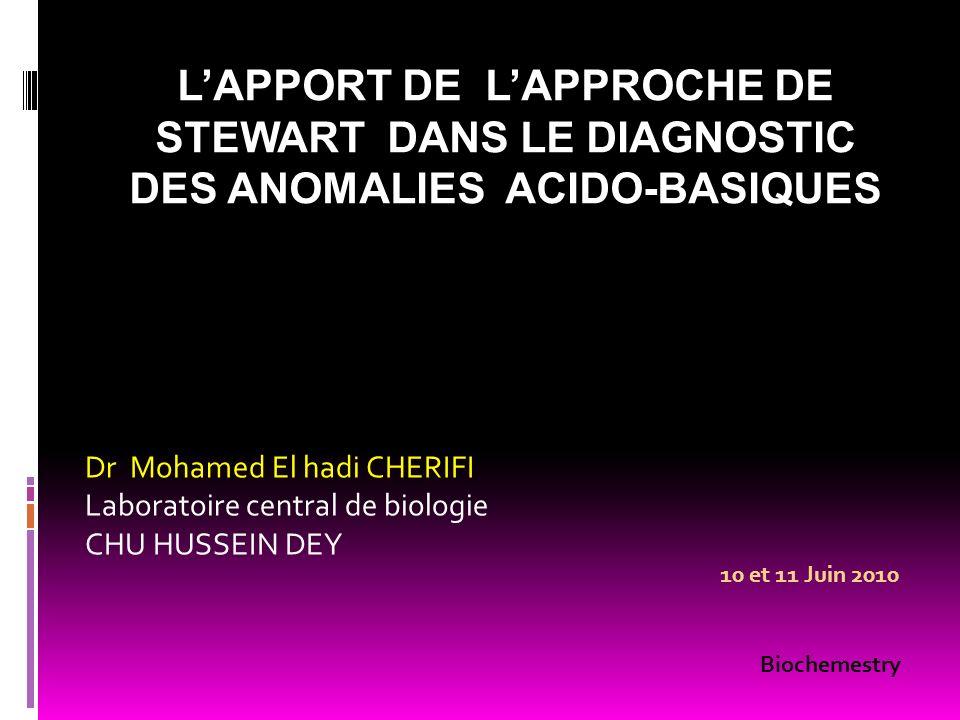 LAPPORT DE LAPPROCHE DE STEWART DANS LE DIAGNOSTIC DES ANOMALIES ACIDO-BASIQUES Dr Mohamed El hadi CHERIFI Laboratoire central de biologie CHU HUSSEIN