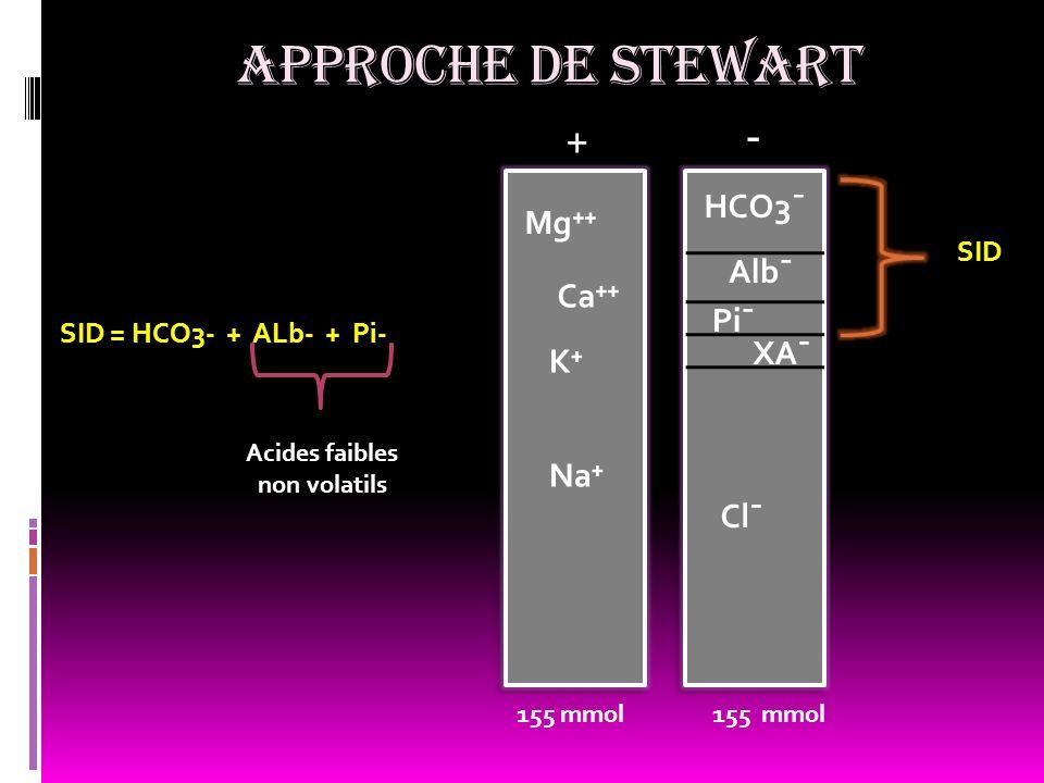 APPROCHE DE STEWART Na K Ca Mg + - HCO3¯ Alb¯ Pi¯ Cl¯ XA¯ SID SID = HCO3- + ALb- + Pi- 155 mmol Acides faibles non volatils