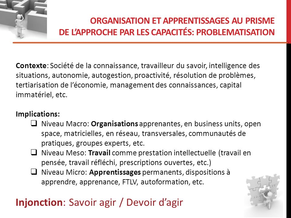 ORGANISATION ET APPRENTISSAGES AU PRISME DE LAPPROCHE PAR LES CAPACITÉS Question