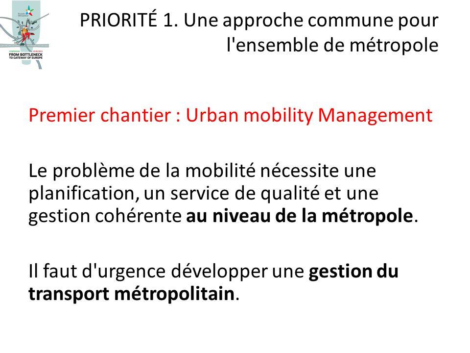 Premier chantier : Urban mobility Management Le problème de la mobilité nécessite une planification, un service de qualité et une gestion cohérente au