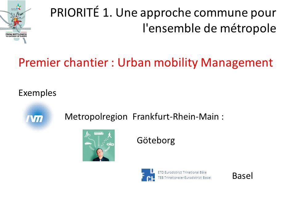 Premier chantier : Urban mobility Management Exemples Metropolregion Frankfurt-Rhein-Main : Göteborg Basel PRIORITÉ 1. Une approche commune pour l'ens