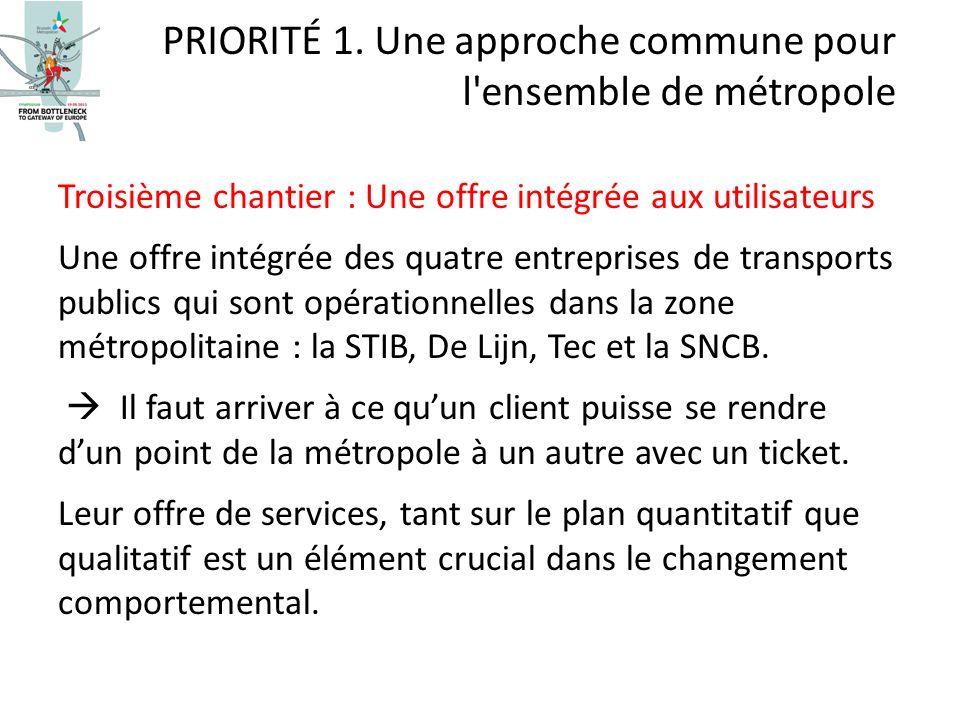 Troisième chantier : Une offre intégrée aux utilisateurs Une offre intégrée des quatre entreprises de transports publics qui sont opérationnelles dans