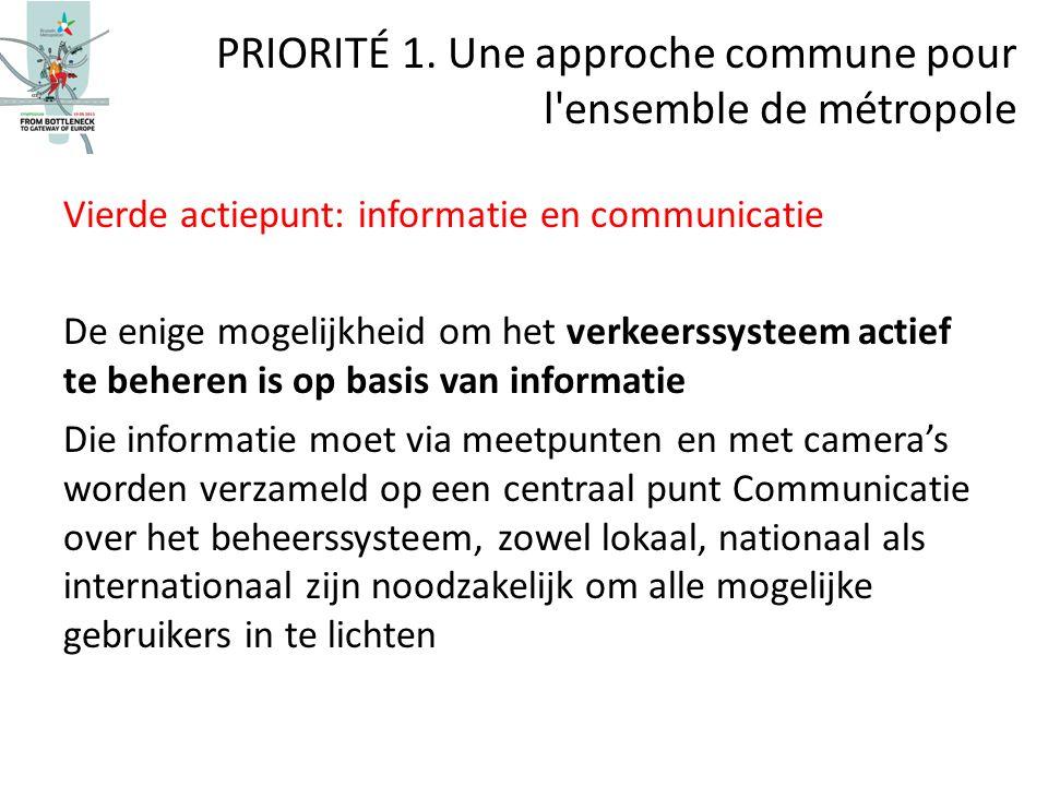 Vierde actiepunt: informatie en communicatie De enige mogelijkheid om het verkeerssysteem actief te beheren is op basis van informatie Die informatie