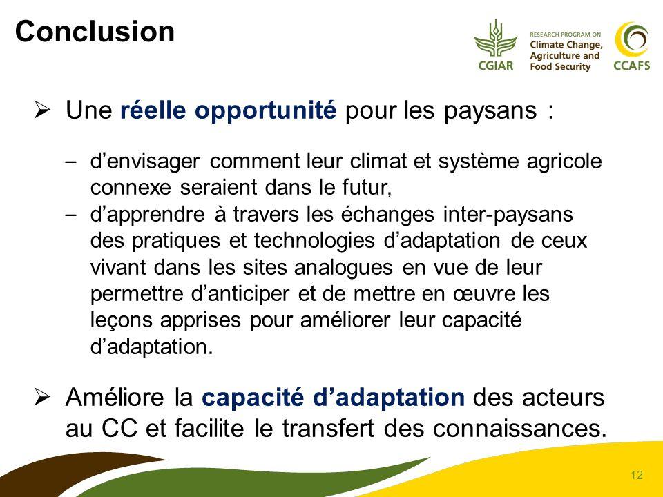 12 Conclusion Une réelle opportunité pour les paysans : – denvisager comment leur climat et système agricole connexe seraient dans le futur, – dappren