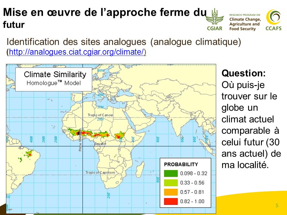 5 Identification des sites analogues (analogue climatique) (http://analogues.ciat.cgiar.org/climate/)http://analogues.ciat.cgiar.org/climate/ Mise en