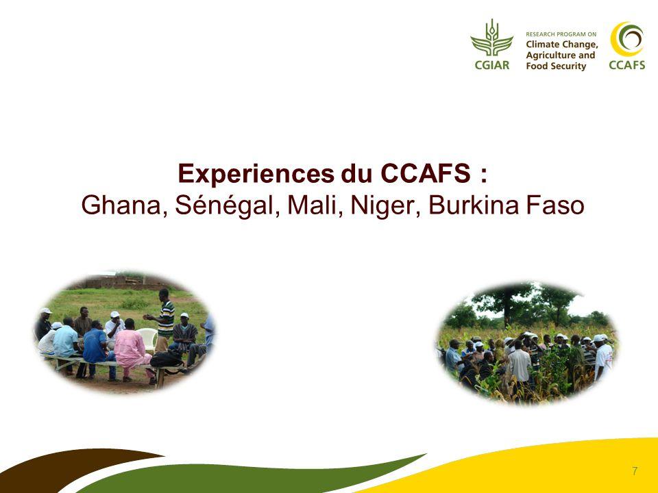 7 Experiences du CCAFS : Ghana, Sénégal, Mali, Niger, Burkina Faso