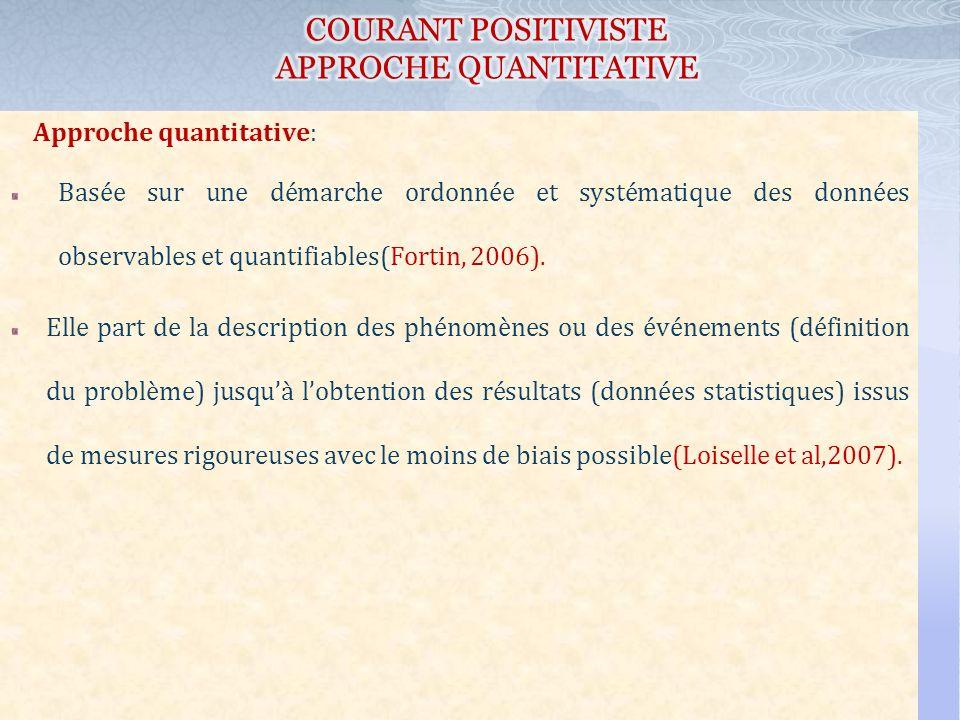 Approche quantitative: Basée sur une démarche ordonnée et systématique des données observables et quantifiables(Fortin, 2006). Elle part de la descrip