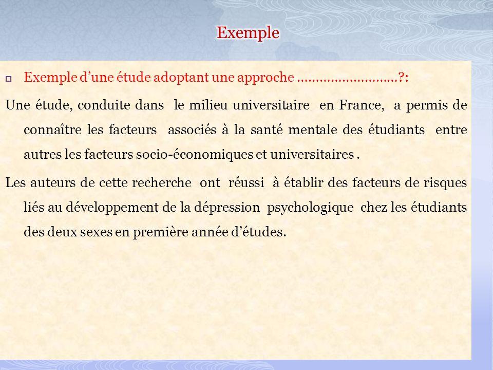 Exemple dune étude adoptant une approche ………………………?: Une étude, conduite dans le milieu universitaire en France, a permis de connaître les facteurs associés à la santé mentale des étudiants entre autres les facteurs socio-économiques et universitaires.