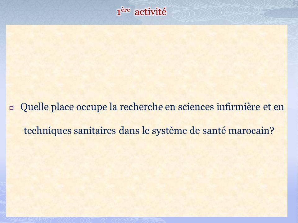 Quelle place occupe la recherche en sciences infirmière et en techniques sanitaires dans le système de santé marocain?