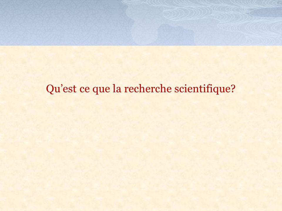 Quest ce que la recherche scientifique?