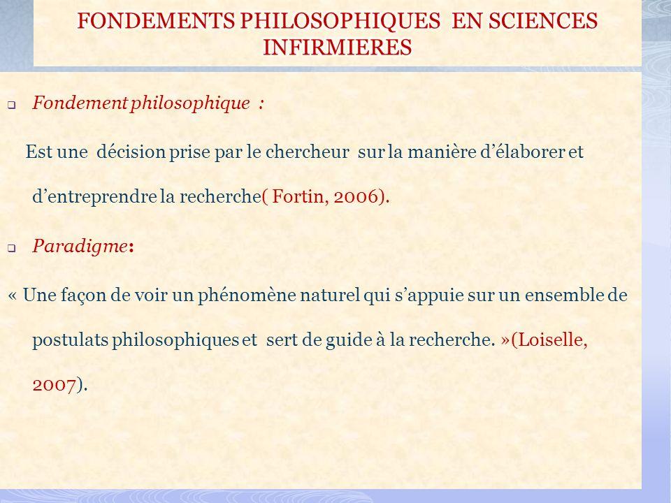 Fondement philosophique : Est une décision prise par le chercheur sur la manière délaborer et dentreprendre la recherche( Fortin, 2006). Paradigme: «