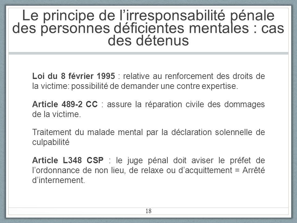 Le principe de lirresponsabilité pénale des personnes déficientes mentales : cas des détenus Loi du 8 février 1995 : relative au renforcement des droits de la victime: possibilité de demander une contre expertise.