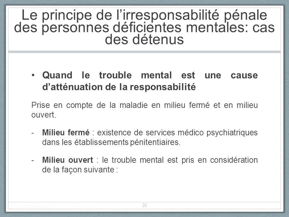 Quand le trouble mental est une cause datténuation de la responsabilité Prise en compte de la maladie en milieu fermé et en milieu ouvert.