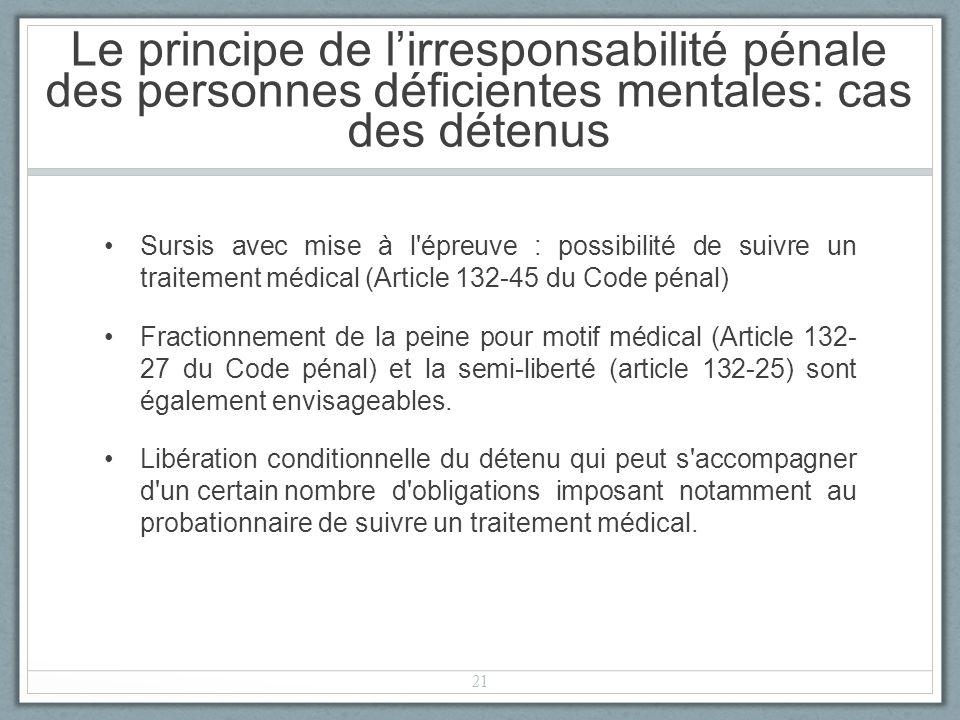 Sursis avec mise à l épreuve : possibilité de suivre un traitement médical (Article 132-45 du Code pénal) Fractionnement de la peine pour motif médical (Article 132- 27 du Code pénal) et la semi-liberté (article 132-25) sont également envisageables.
