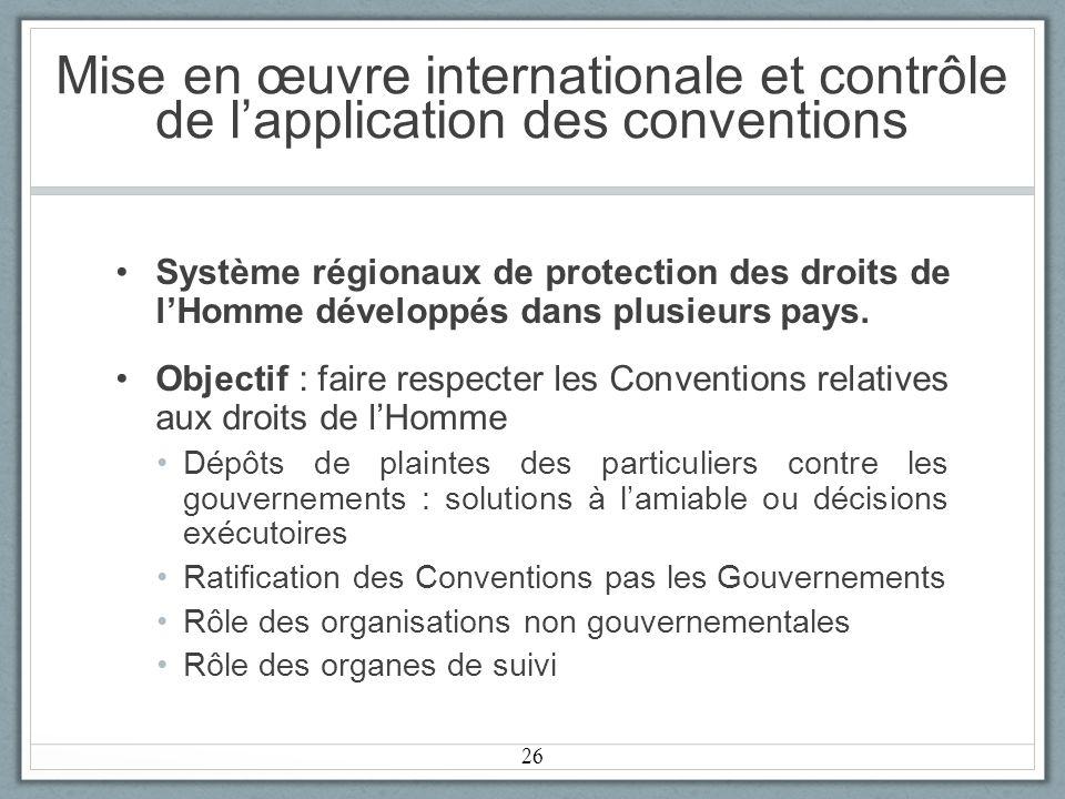 Mise en œuvre internationale et contrôle de lapplication des conventions Système régionaux de protection des droits de lHomme développés dans plusieurs pays.
