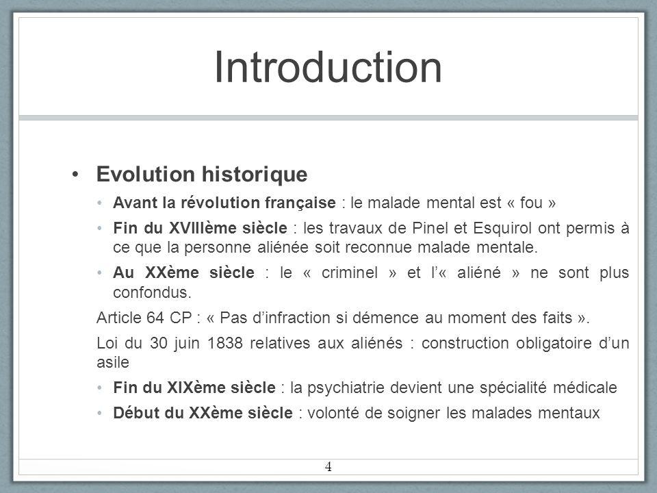 Introduction Evolution historique Avant la révolution française : le malade mental est « fou » Fin du XVIIIème siècle : les travaux de Pinel et Esquirol ont permis à ce que la personne aliénée soit reconnue malade mentale.