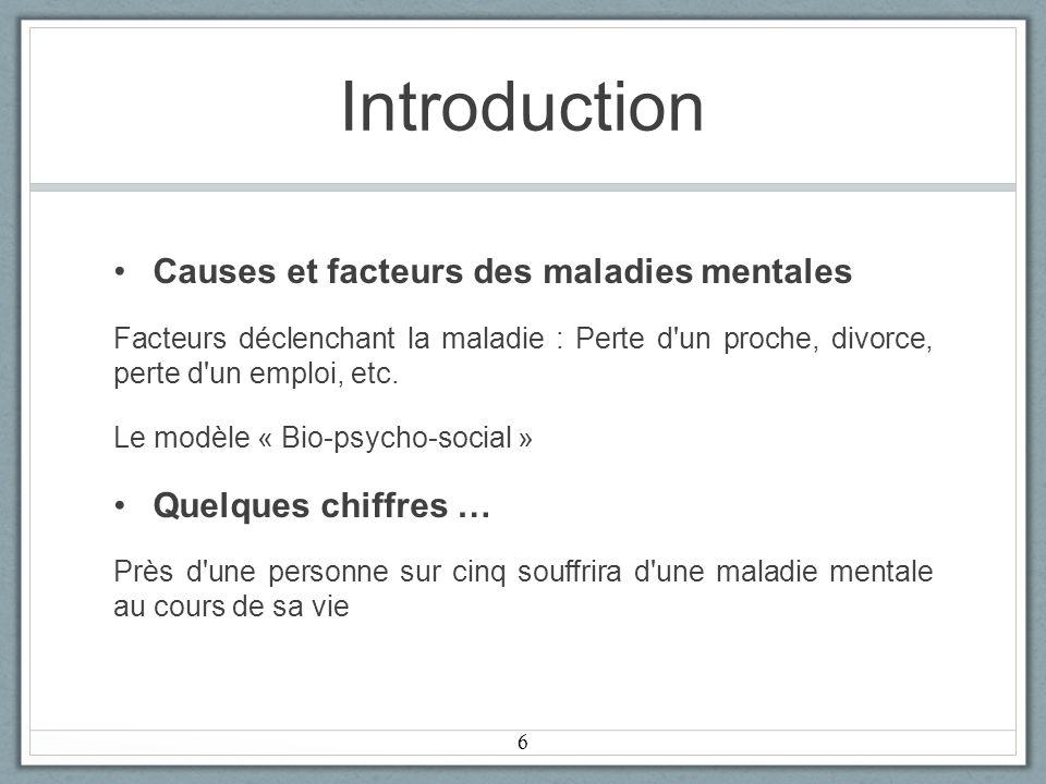 Introduction Causes et facteurs des maladies mentales Facteurs déclenchant la maladie : Perte d un proche, divorce, perte d un emploi, etc.