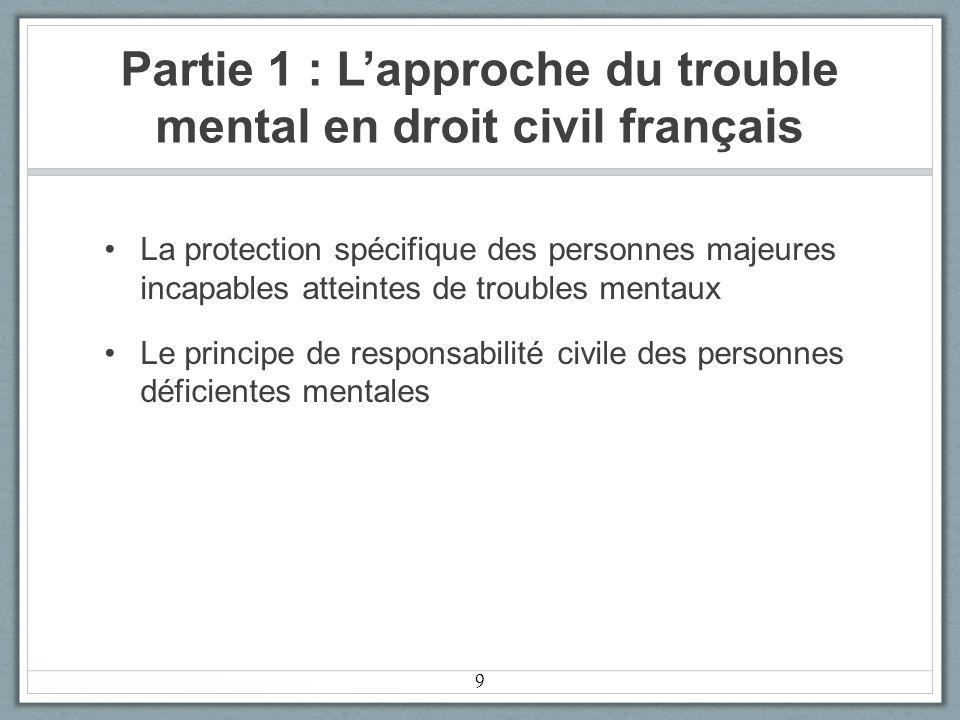 Partie 1 : Lapproche du trouble mental en droit civil français La protection spécifique des personnes majeures incapables atteintes de troubles mentaux Le principe de responsabilité civile des personnes déficientes mentales 9