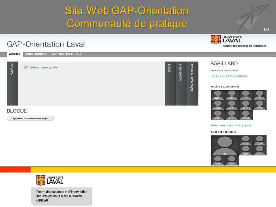 Site Web GAP-Orientation Communauté de pratique 18