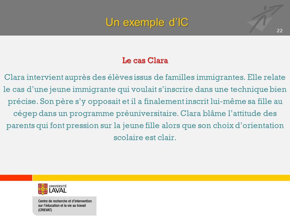Un exemple dIC Le cas Clara Clara intervient auprès des élèves issus de familles immigrantes.