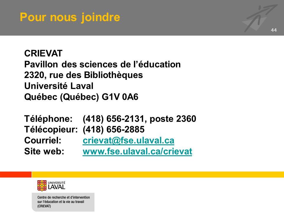CRIEVAT Pavillon des sciences de léducation 2320, rue des Bibliothèques Université Laval Québec (Québec) G1V 0A6 Téléphone: (418) 656-2131, poste 2360 Télécopieur:(418) 656-2885 Courriel: crievat@fse.ulaval.cacrievat@fse.ulaval.ca Site web: www.fse.ulaval.ca/crievatwww.fse.ulaval.ca/crievat Pour nous joindre 44