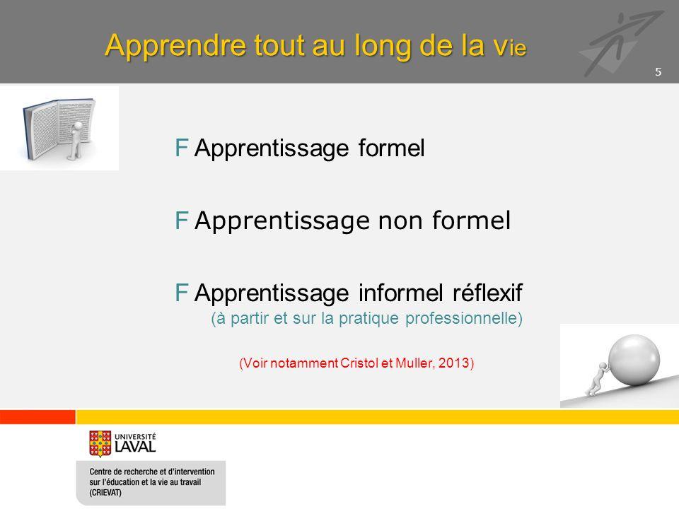 Apprendre tout au long de la v ie FApprentissage formel F Apprentissage non formel FApprentissage informel réflexif (à partir et sur la pratique professionnelle) (Voir notamment Cristol et Muller, 2013) 5