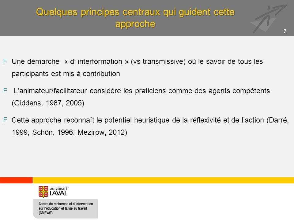 Quelques principes centraux qui guident cette approche FUne démarche « d interformation » (vs transmissive) où le savoir de tous les participants est mis à contribution F Lanimateur/facilitateur considère les praticiens comme des agents compétents (Giddens, 1987, 2005) FCette approche reconnaît le potentiel heuristique de la réflexivité et de laction (Darré, 1999; Schön, 1996; Mezirow, 2012) 7