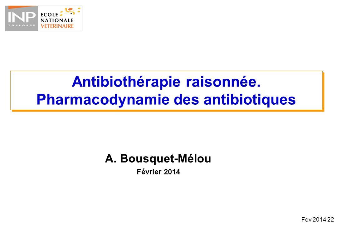 Antibiothérapie raisonnée. Pharmacodynamie des antibiotiques Antibiothérapie raisonnée. Pharmacodynamie des antibiotiques A. Bousquet-Mélou Février 20
