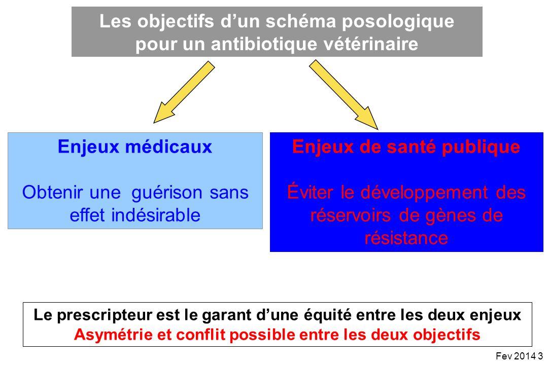 Pour résumer Les valeurs des indices PK/PD associées à une forte probabilité de guérison: –Dépendent de divers facteurs : bactéries (Gram+ vs Gram-), antibiotiques (beta-lactamines), sites infectieux, hôtes (immuno-compétence) Le type dindice PK/PD corrélé avec lefficacité : –Dépend de la vitesse de bactéricidie de lantibiotique : homogène au sein dune même famille –Intensité de lexposition (AUC/MIC, Cmax/MIC) pour les antibiotiques concentration-dependants et durée de lexposition (T>MIC) pour les antibiotiques temps-dépendants –Est le même quel que soit lhôte infecté : animaux, humains Fev 2014 64 La connaissance des indices PK/PD corrélés avec lefficacité permet de rationnaliser les schémas dadministration: –Schémas posologiques qui maximisent soit lintensité dexposition pour les AB concentration dépendants (Aminoglycopsides, fluoroquinolones), soit la durée dexposition pour les AB temps-dépendants (beta-lactamines)
