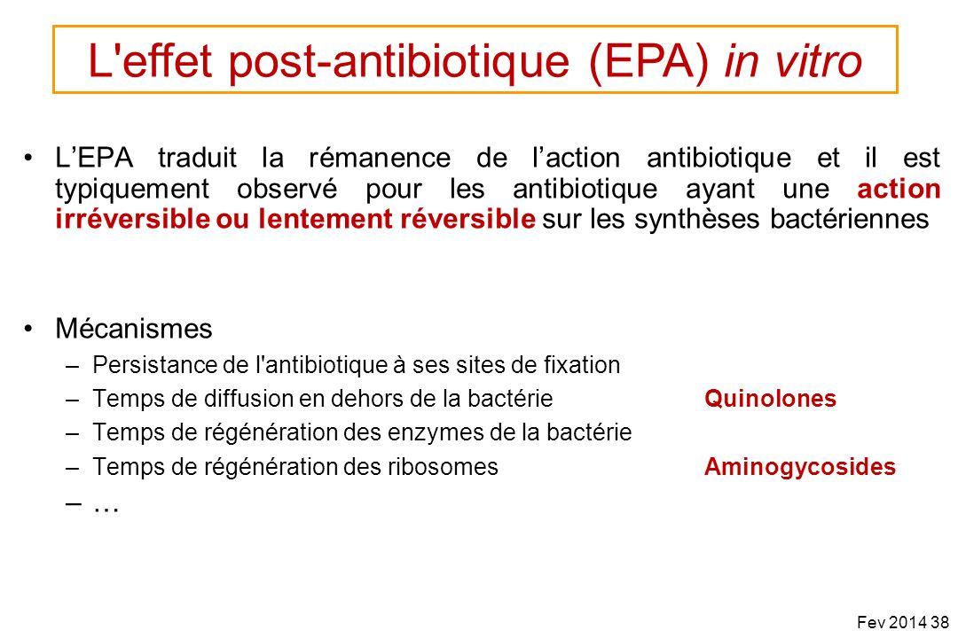 LEPA traduit la rémanence de laction antibiotique et il est typiquement observé pour les antibiotique ayant une action irréversible ou lentement réver