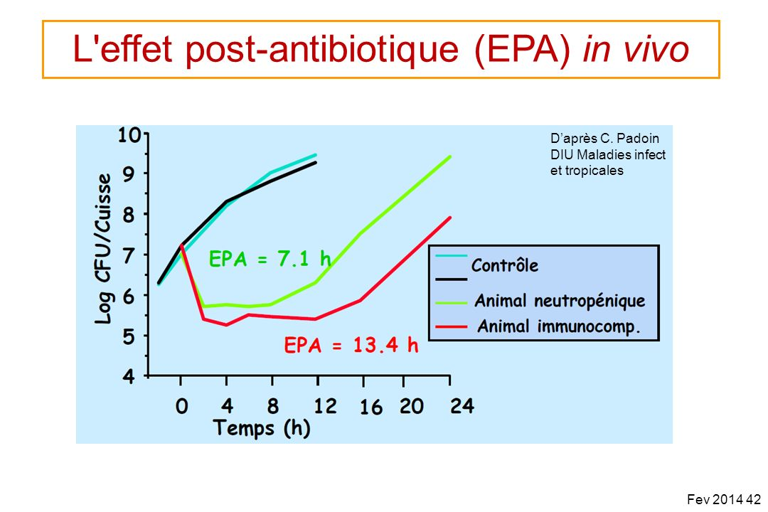 Daprès C. Padoin DIU Maladies infect et tropicales Fev 2014 42 L'effet post-antibiotique (EPA) in vivo