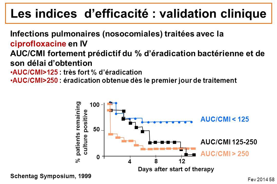 Infections pulmonaires (nosocomiales) traitées avec la ciprofloxacine en IV AUC/CMI fortement prédictif du % déradication bactérienne et de son délai