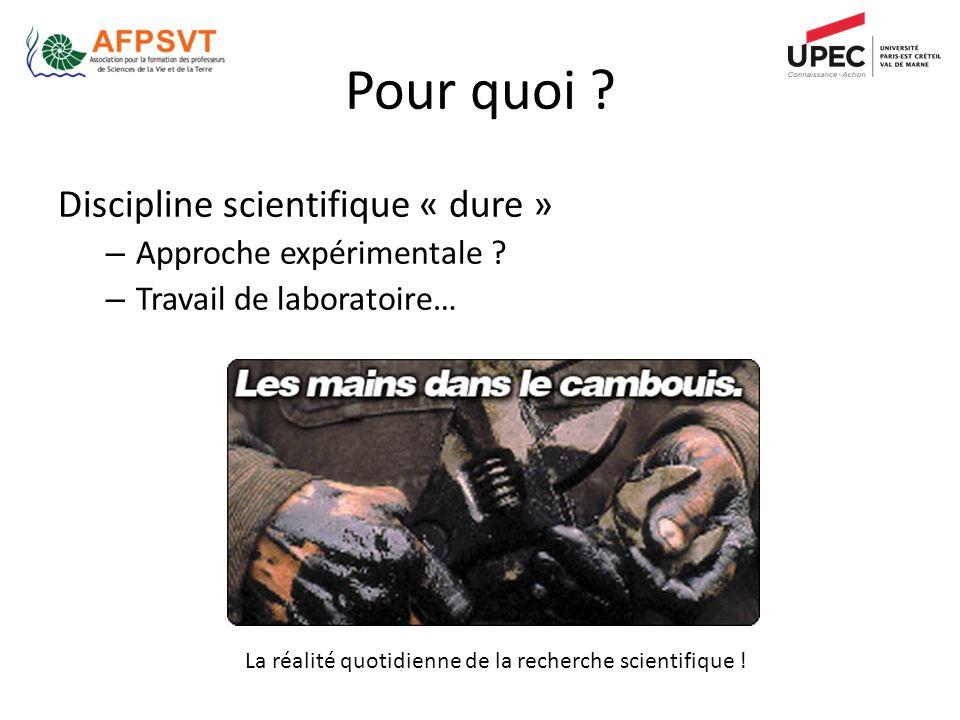 Pour quoi ? La réalité quotidienne de la recherche scientifique ! Discipline scientifique « dure » – Approche expérimentale ? – Travail de laboratoire