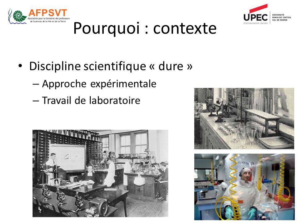 Pourquoi : contexte Discipline scientifique « dure » – Approche expérimentale – Travail de laboratoire