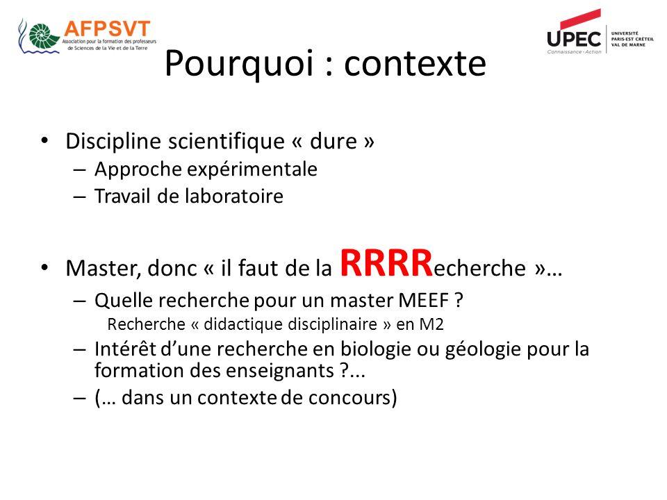Discipline scientifique « dure » – Approche expérimentale – Travail de laboratoire Master, donc « il faut de la RRRR echerche »… – Quelle recherche pour un master MEEF .