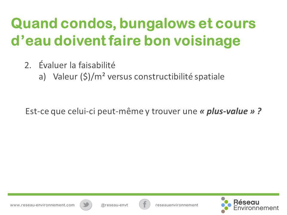 Quand condos, bungalows et cours deau doivent faire bon voisinage 2.Évaluer la faisabilité a)Valeur ($)/m² versus constructibilité spatiale Est-ce que celui-ci peut-même y trouver une « plus-value » .
