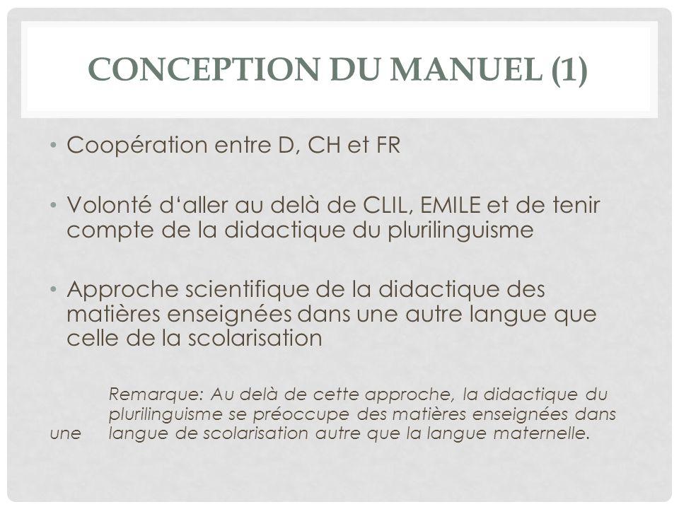 CONCEPTION DU MANUEL (1) Coopération entre D, CH et FR Volonté daller au delà de CLIL, EMILE et de tenir compte de la didactique du plurilinguisme App