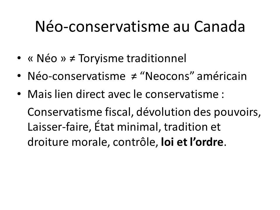 Néo-conservatisme au Canada « Néo » Toryisme traditionnel Néo-conservatisme Neocons américain Mais lien direct avec le conservatisme : Conservatisme fiscal, dévolution des pouvoirs, Laisser-faire, État minimal, tradition et droiture morale, contrôle, loi et lordre.