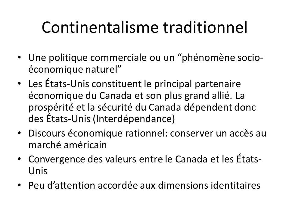 Continentalisme traditionnel Une politique commerciale ou un phénomène socio- économique naturel Les États-Unis constituent le principal partenaire économique du Canada et son plus grand allié.