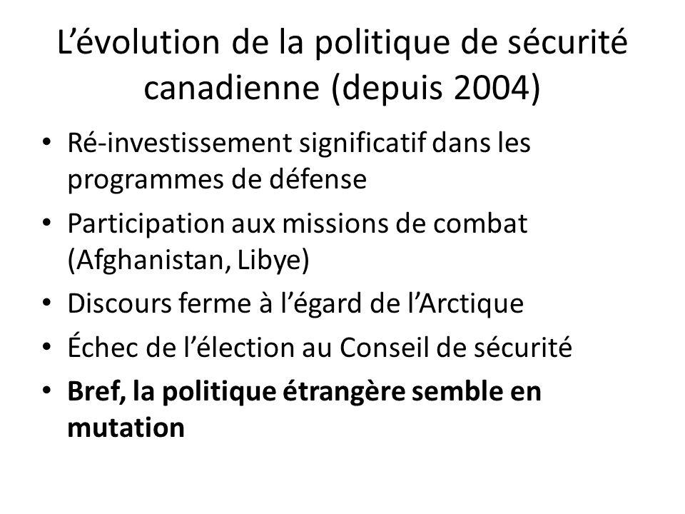 Lévolution de la politique de sécurité canadienne (depuis 2004) Ré-investissement significatif dans les programmes de défense Participation aux missions de combat (Afghanistan, Libye) Discours ferme à légard de lArctique Échec de lélection au Conseil de sécurité Bref, la politique étrangère semble en mutation